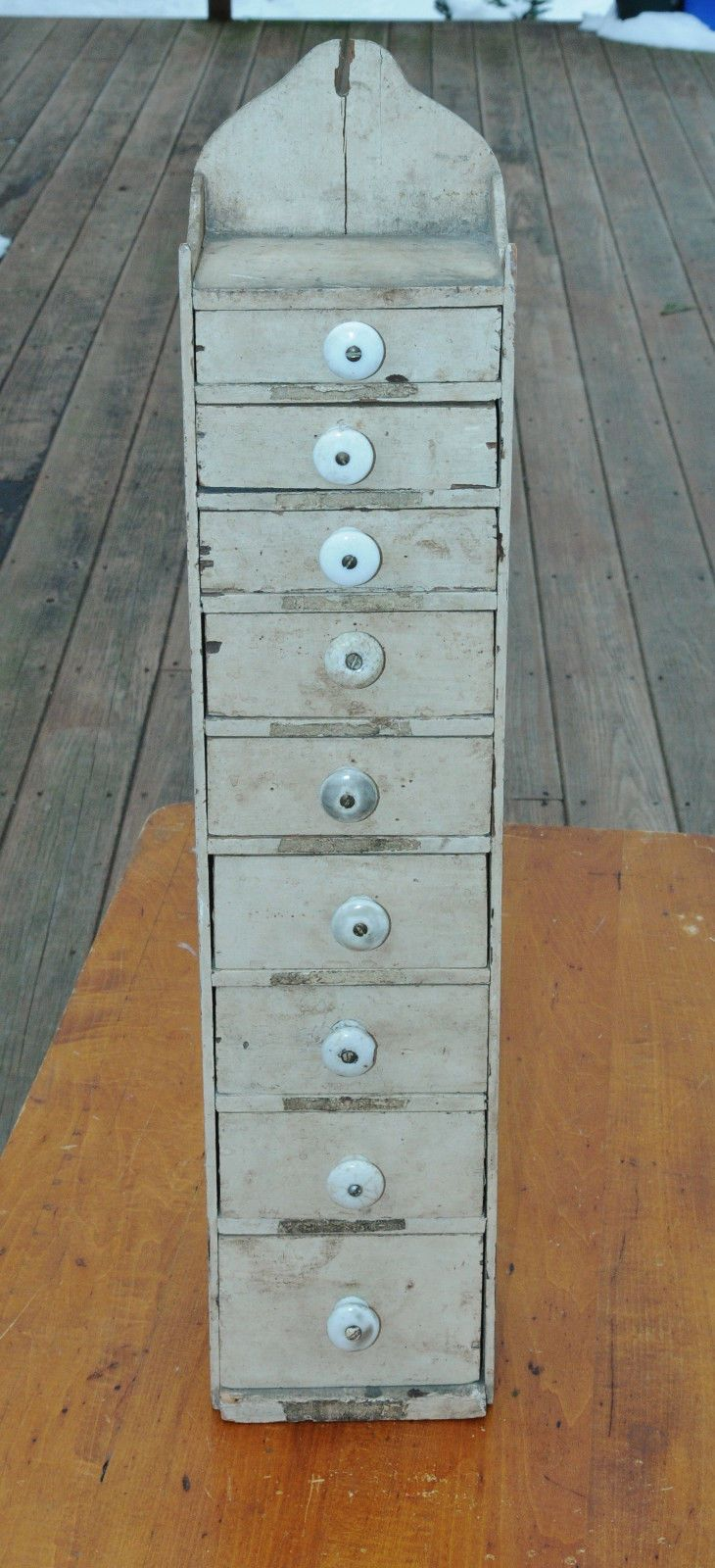 Primitive Wooden Spice Cabinet Or Seed Box With 9 Drawers