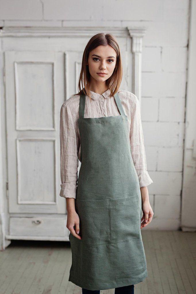 Green linen apron A R T Linen apron dress, Linen apron
