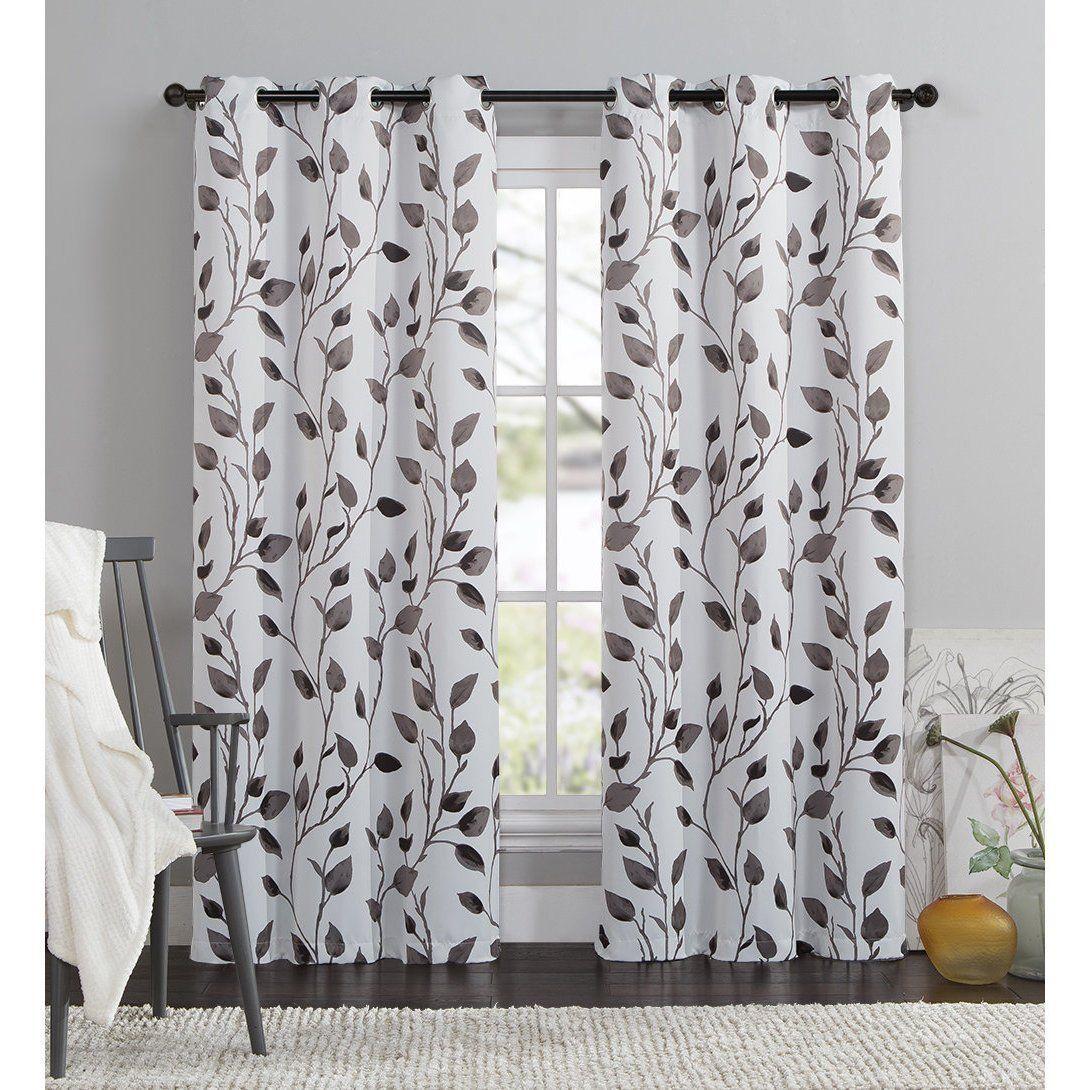 Girls 95 Inch Chocolate White Leaf Swirl Curtain Single Panel | Leaf ...