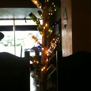 Wine Bottle Tree with Christmas Lights