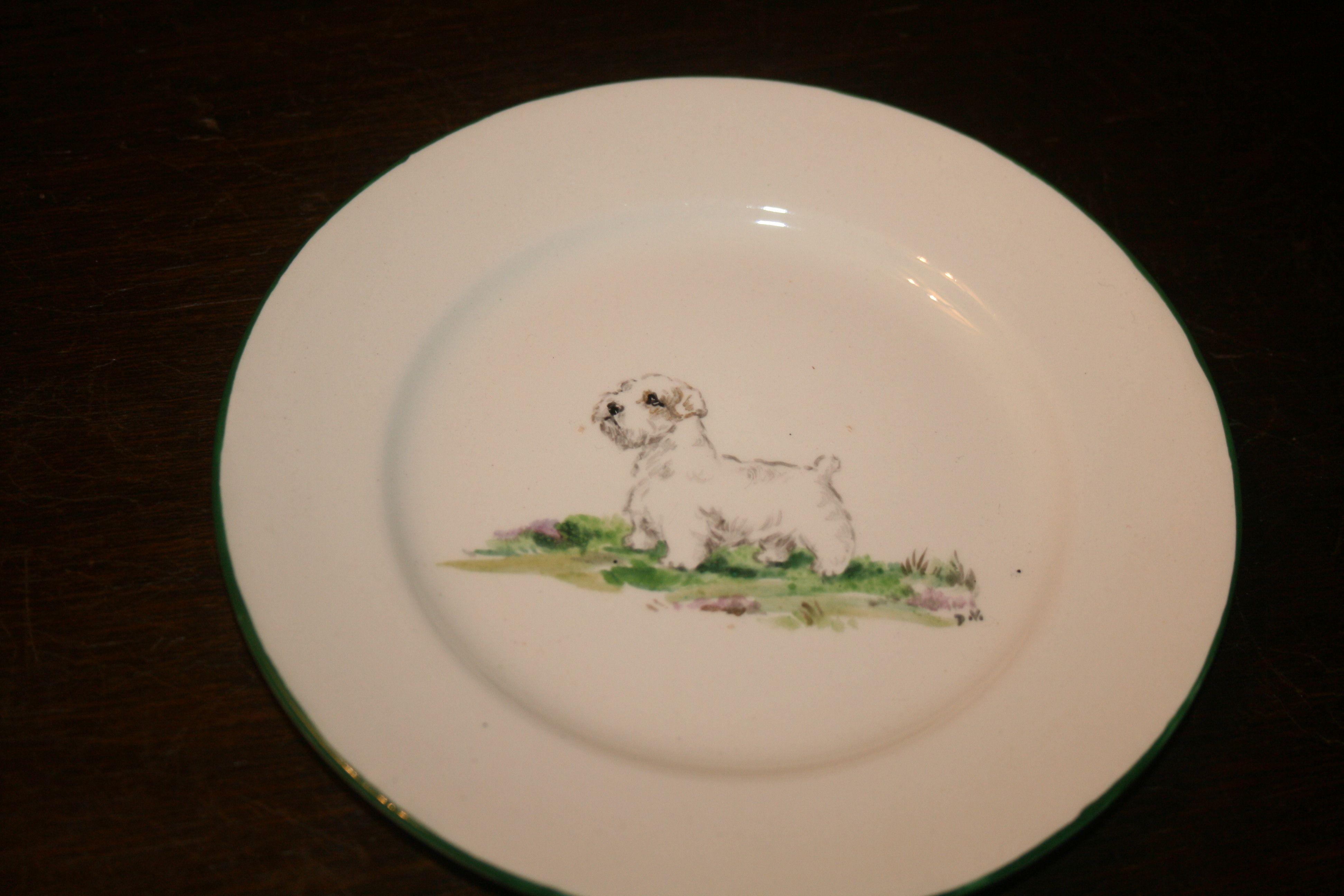 Morley Pottery, hand painted Dulcie Vaughan. part tea set. Tea plate. West Highland terrier.