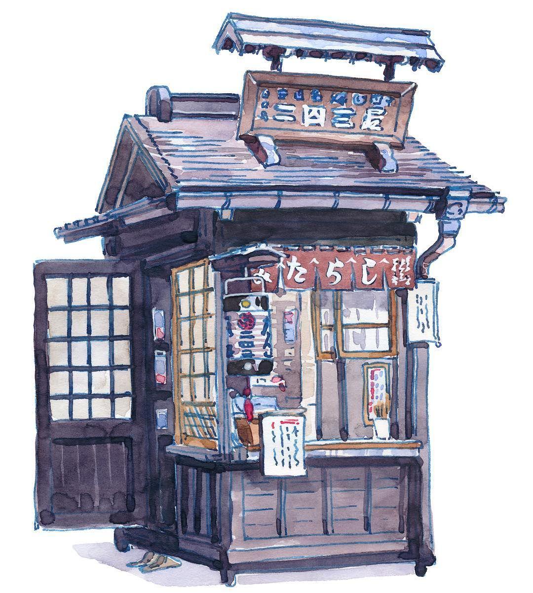 The Mitarashi Dango Stall I Sketched During A Live Youtube Stream