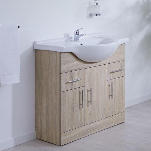 Milano Arch Oak 850mm Floor Standing Vanity Unit With Basin Vanity Units Basin Vanity Unit Standing Vanity Bathroom modern vanity units milano