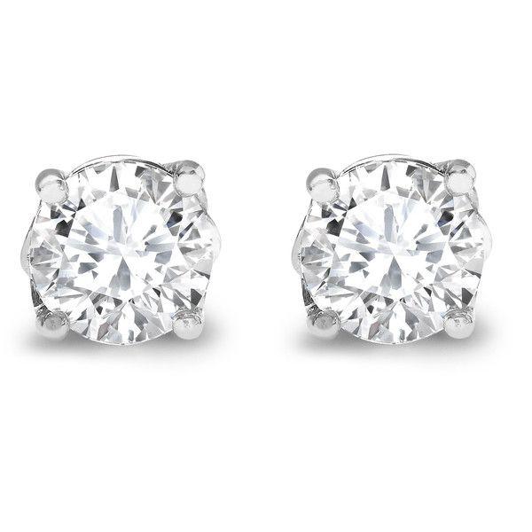 Asprey Round Brilliant Cut Diamond Stud Earrings found on Polyvore