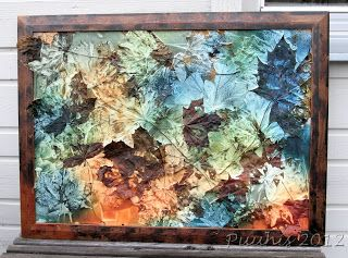 Autumn leaves, gesso and ink. Cool painting!