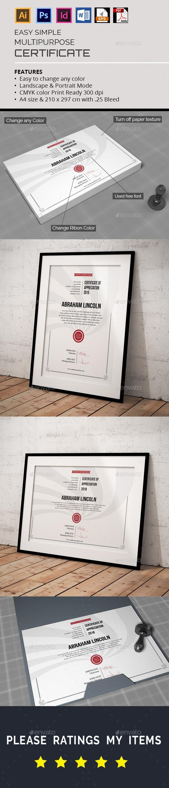graphicriver certificate simple multipurpose stationery templates
