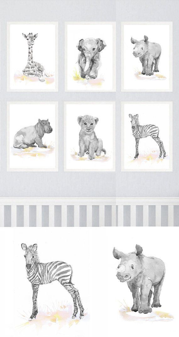 Neutral Nursery Decor Safari Art Set Of 6 Prints Baby Watercolor Painting Boy Animals Gray Pink Yellow Wall Watercolour Print