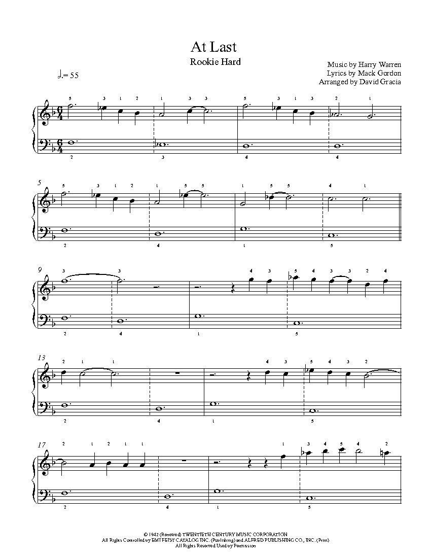 At Last By Etta James Piano Sheet Music Rookie Level Sheet Music Piano Sheet Music Hard Music