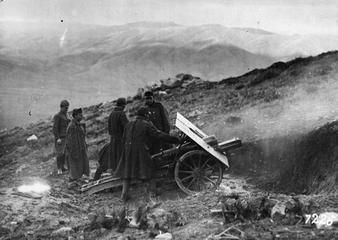 THE AUSTRO-HUNGARIAN ARMY ON THE ITALIAN FRONT, 1915-1918  Austro-Hungarian gunners manning a howitzer in the mountains.