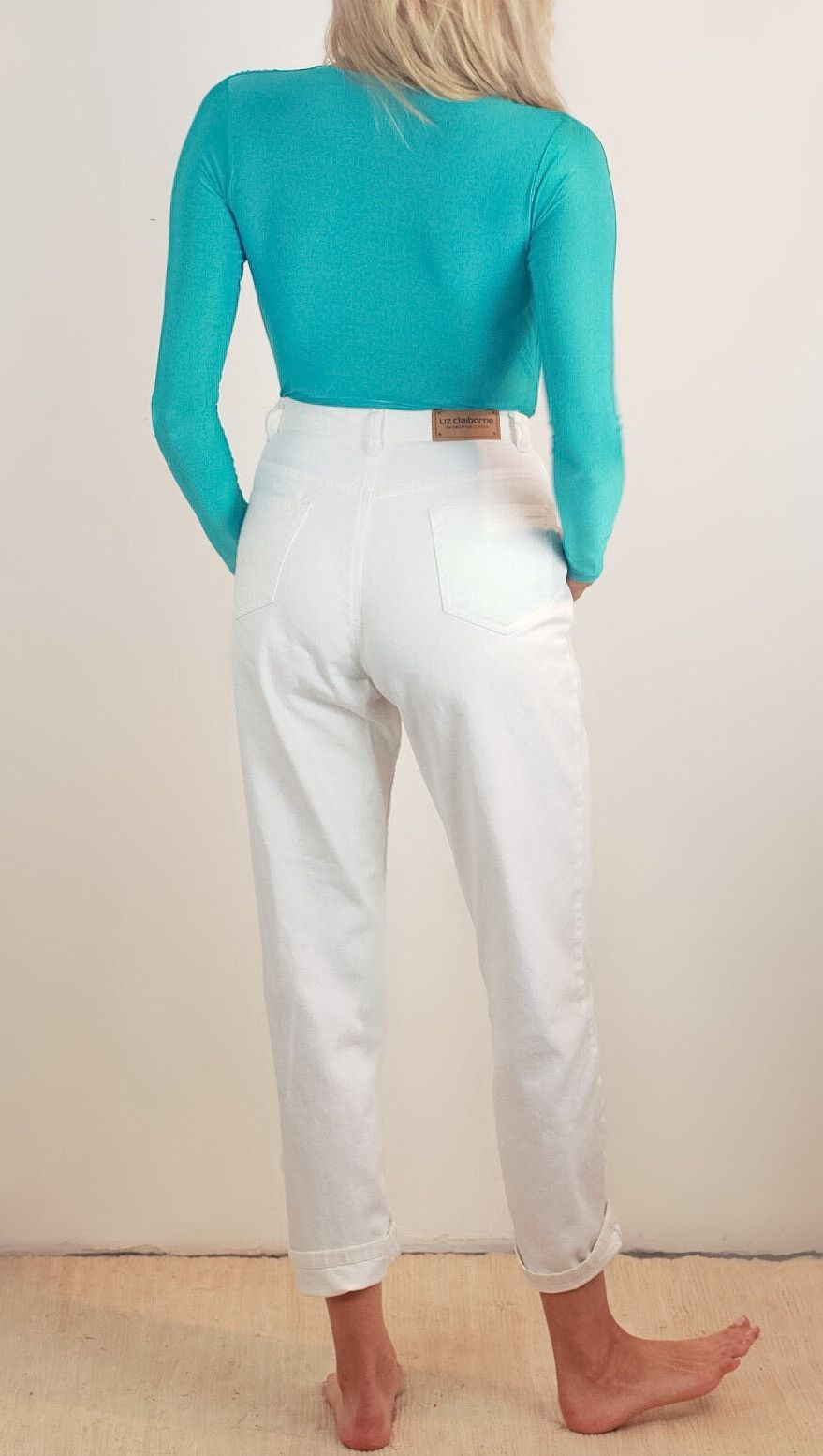 Liz Claiborne White Denim High Waisted Jeans