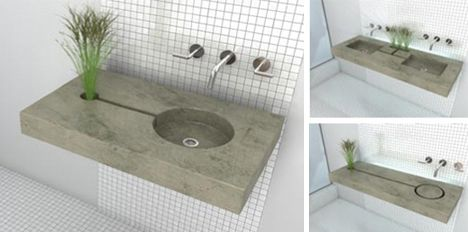 Charmant Made Of Polished Stained Concrete, The Zen Garden Sink Has A Channel That  Allows The Water Used While Washing Your Hands To Water A Plant.