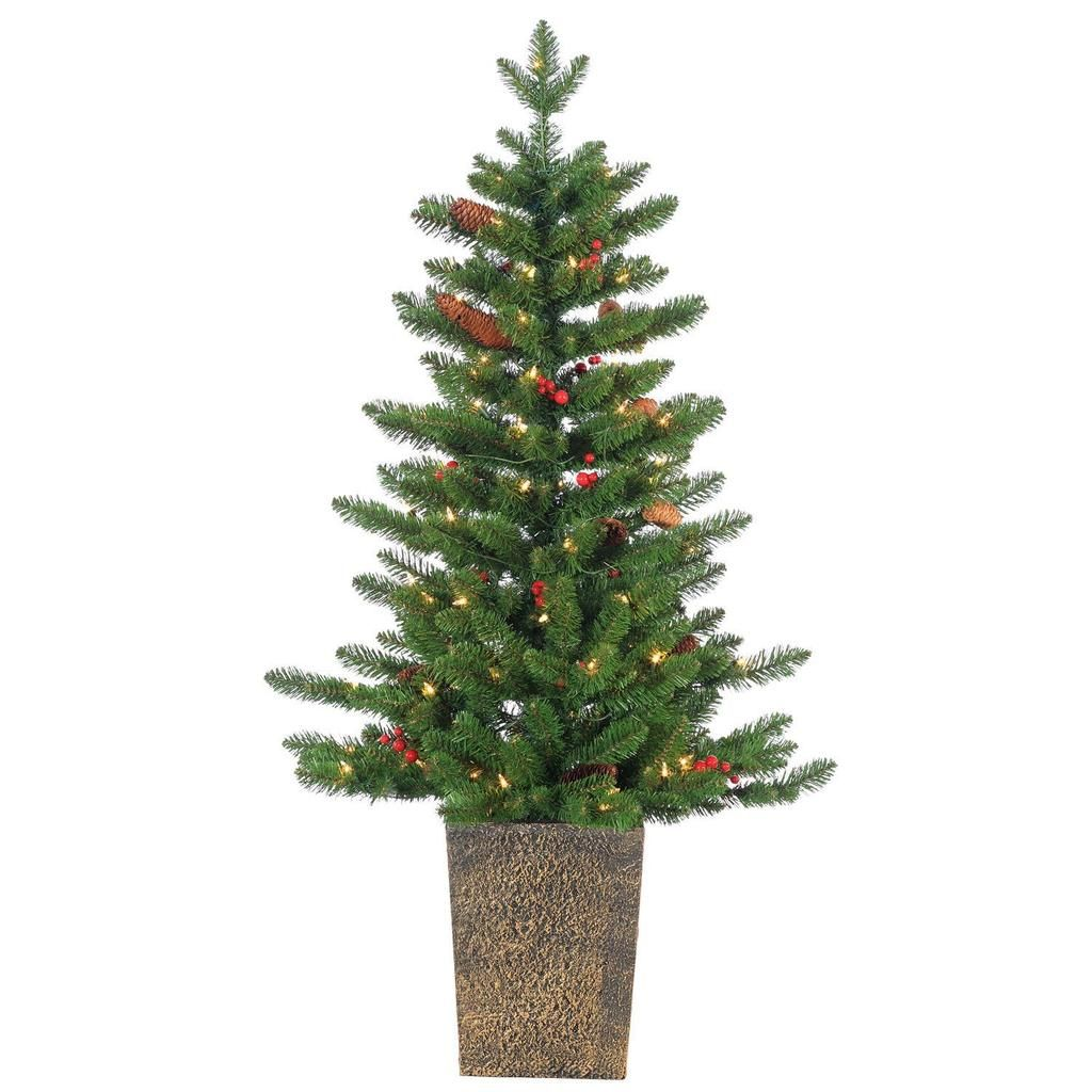 Ten Waterloo Pre Lit Potted Madison Spruce Christmas Tree With Pine Cones Red Berries Pre Lit Christmas Tree Pine Cone Christmas Tree Potted Christmas Trees