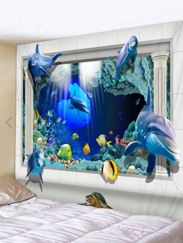 Screenshot 2019 08 02 Underwater Dolphin Fishes Print Tapestry Wall Hanging Art Decoration With Images Mural Wallpaper Wall Murals Tapestry Wall Hanging
