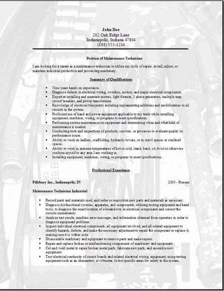 Maintenance Technician Resume Templates And Cover Letters Plus An Indeed Job Search Engine To He Electronic Technician Resume Examples Cover Letter For Resume