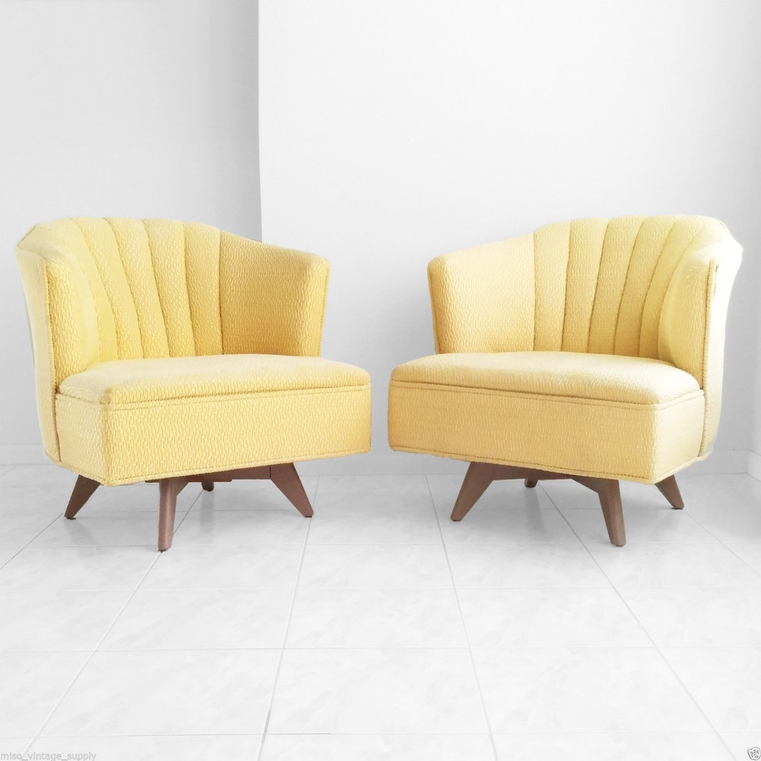 Vtg 2 Mid Century Modern 1950s Atomic Deco Channel Swivel Chairs