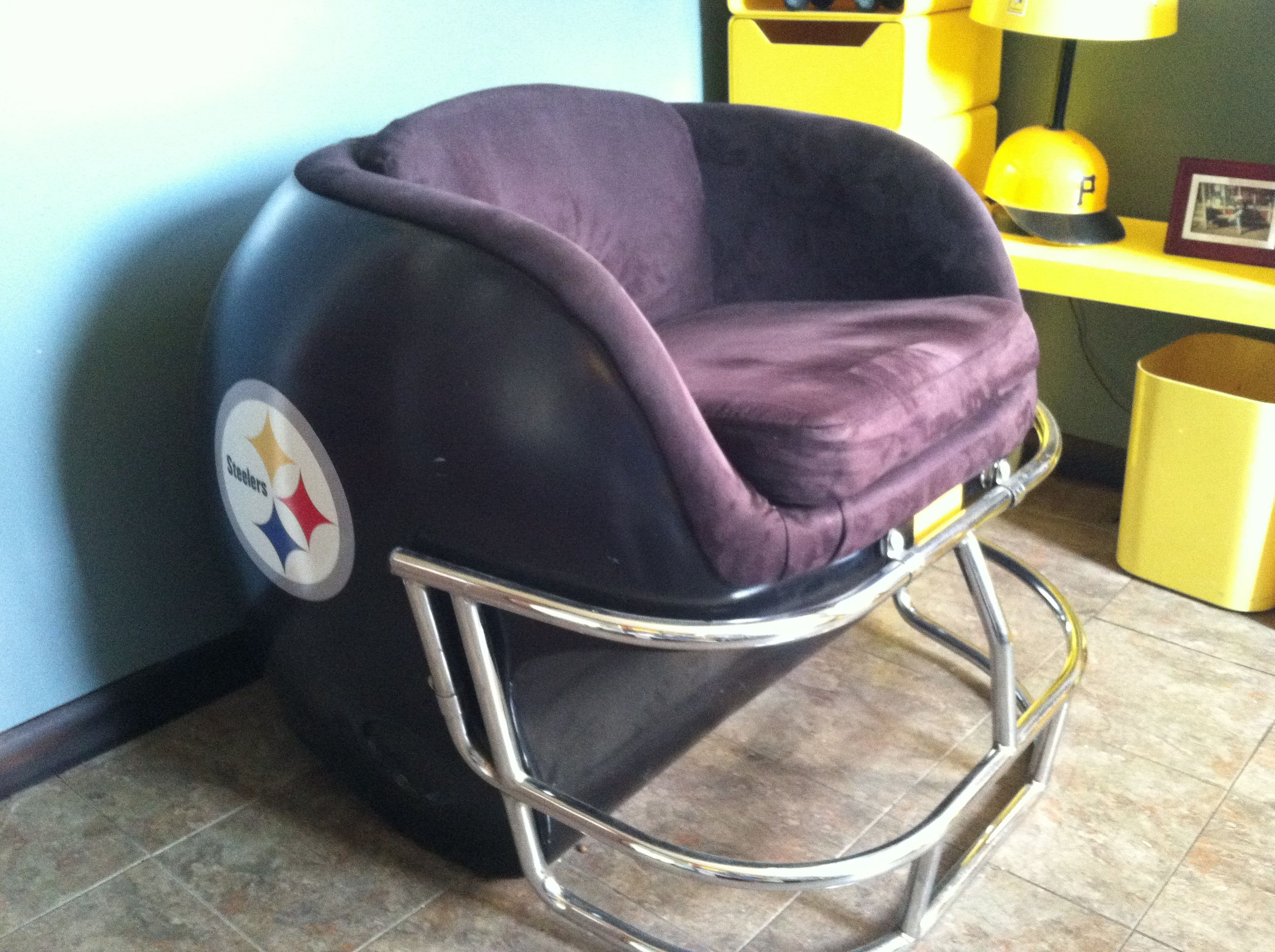 cowboys football helmet chair reconditioned office chairs pittsburgh steelers vintage sports room