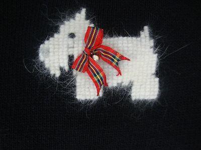 Talbots Women's Dog Cardigan Sweater Scottie Black L s Christmas Bells Heavy 2X | eBay