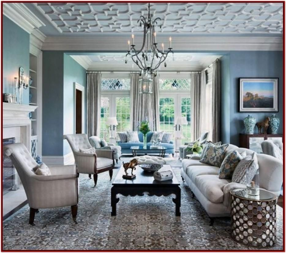 Blue Gray And White Living Room Ideas by Virginia Johnston ...