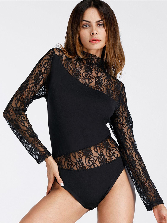 9b56819b477a05 Black High Neck Lace Panel Long Sleeve Bodysuit