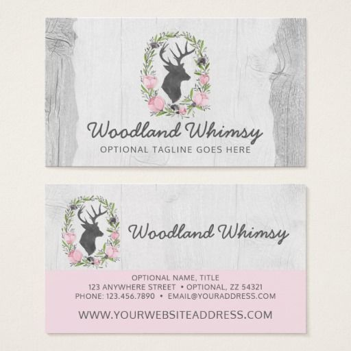 Deer silhouette floral wreath cameo on rustic wood business card deer silhouette floral wreath cameo on rustic wood business card woodland boutique branding marketing by reheart Image collections