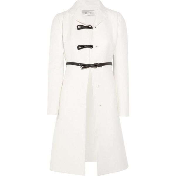 Valentino Belted wool and silk-blend coat ($2,405) ❤ liked on Polyvore