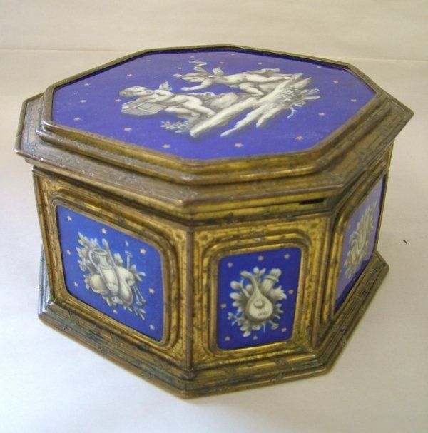 19th Century Bronze and Hand Painted  Multiplaque Jewelry Casket