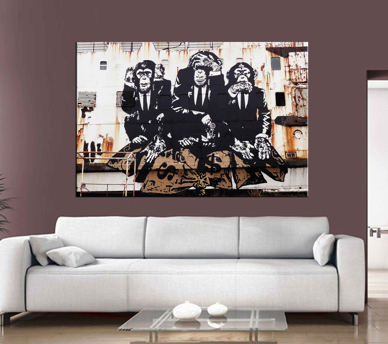 Three Monkeys Wall Art Wise Monkeys Canvas Monkeys Graffiti Etsy Monkey Wall Art Custom Canvas Art Monkey Wall