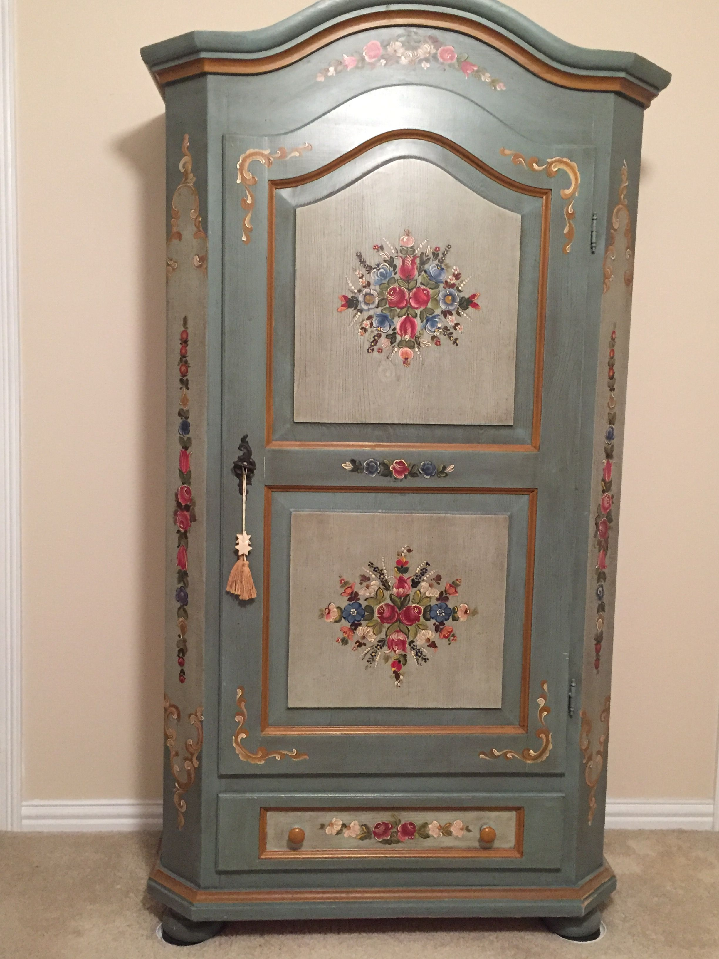 Hand Painted German Schrank Or Armoire Painting Furniture Diy Hand Painted Furniture Revamp Furniture