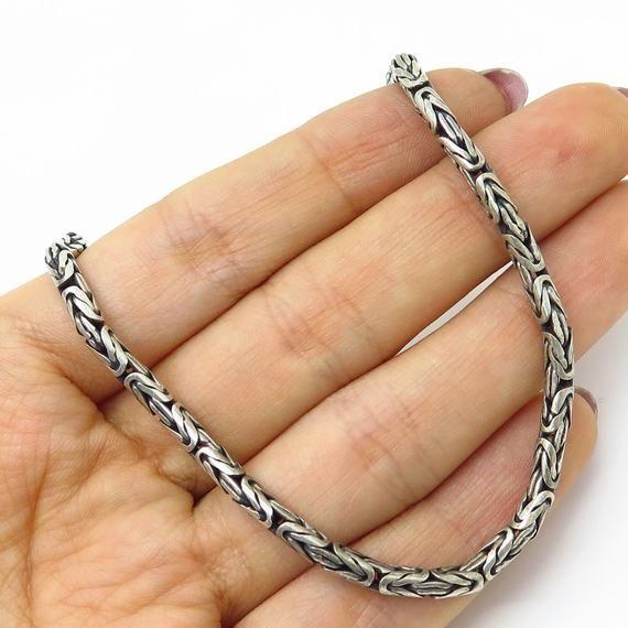 Suarti Bali 925 Sterling Silver Thick Square Byzantine Chain