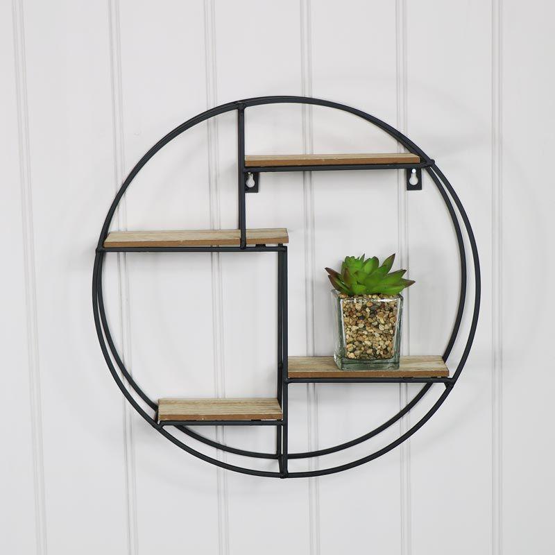 Black metal wood round wall shelf metal wall panel
