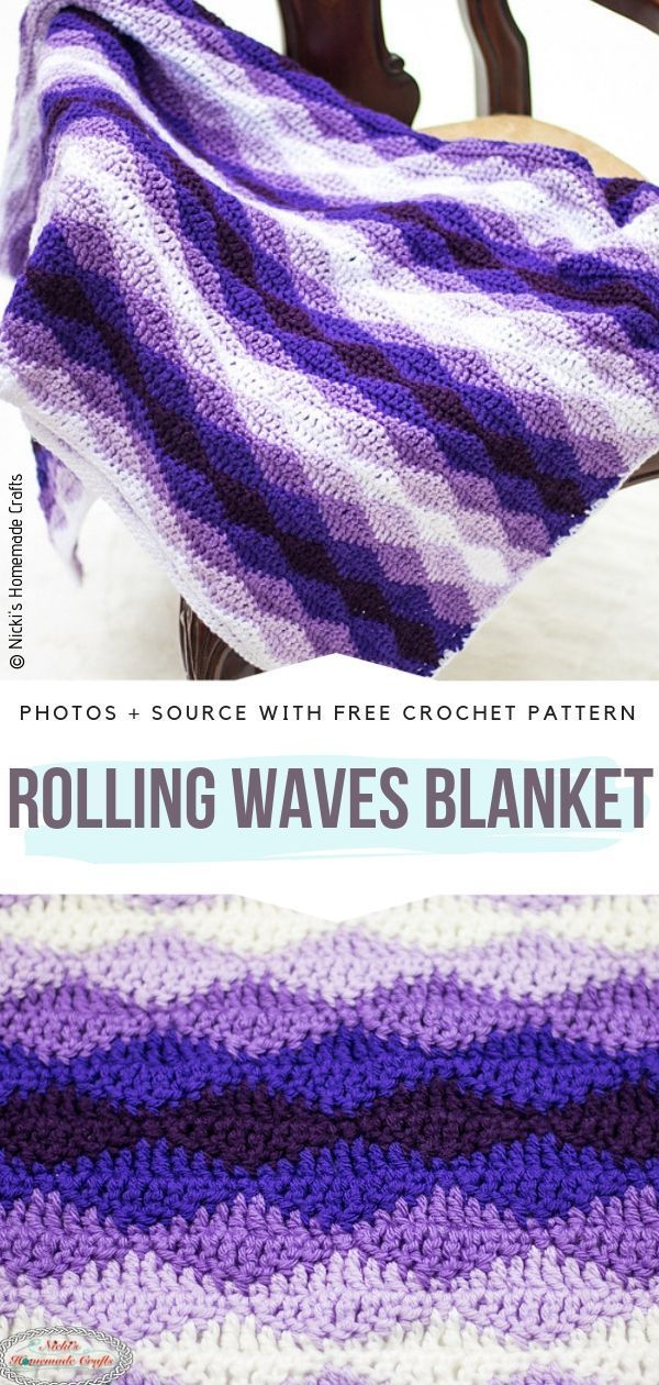 Colorful Ripple Blankets Free Crochet Patterns