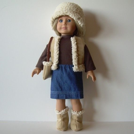The sherpa vest, boots, and shoulder bag are faux lambskin on the inside and soft suede on the outside. A matching hat can be worn with the sheepskin side out or reversed with the seams exposed. A denim pencil skirt pairs beautifully with a brown, long-sleeved turtleneck top. The shirt fastens in back with velcro, and the skirt has an elastic waist.
