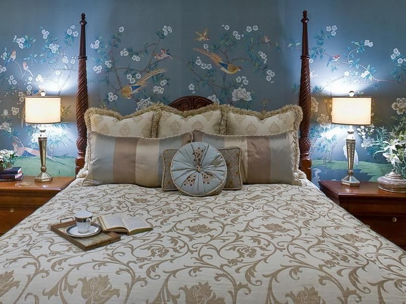 romantic blue master bedroom ideas. Romantic Master Bedroom Ideas Flowers Wall Mural Adding Touch In The Design Blue T