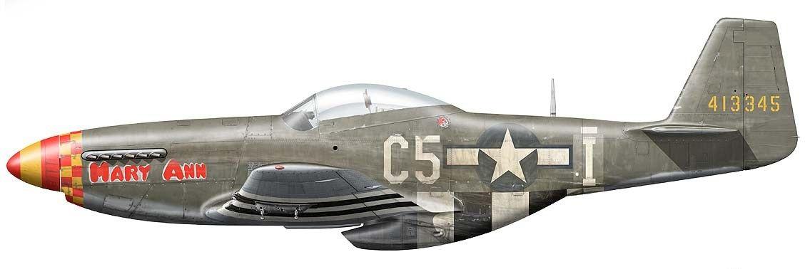 "P-51D-5-NA Mustang ""Mary Ann""№-44-13345.USAAF 357 FG, 364 FS.пилот-C.E Burtner.1944"