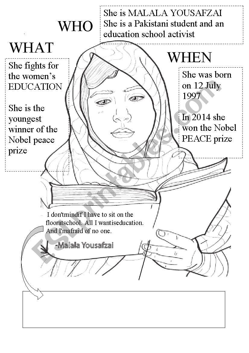 Malala Yousafzai worksheet in 2020 | Reading worksheets ...