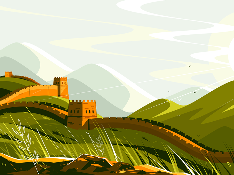 Great Wall Of China Great Wall Of China Landscape Illustration Landscape