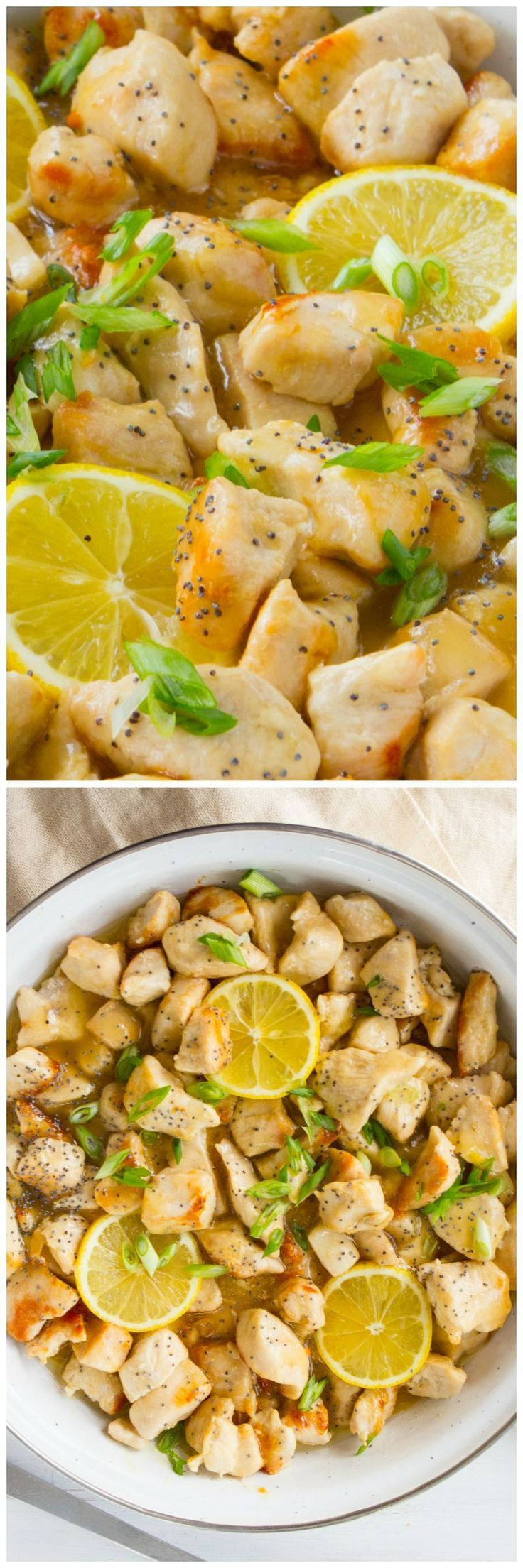Skinny Lemon Chicken Skillet can be made in one pan, quickly and has delicious lemony peppery flavor! #chickenskillet