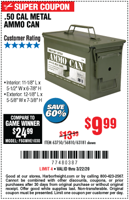50 Cal Metal Ammo Can For 9 99 In 2020 Harbor Freight Tools Ammo Cans Ammo