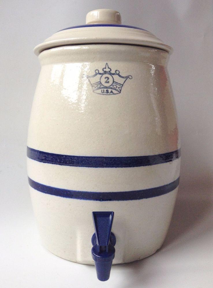Vintage Usa Stoneware Water Cooler Dispenser W Spigot 2 Gallon Euc Pottery Art Pottery Stoneware