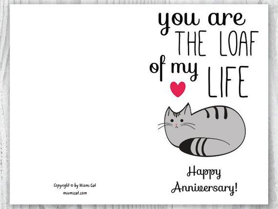 Anniversary Cards Printable Anniversary Card Cat Loaf Funny Etsy Funny Anniversary Cards Printable Anniversary Cards Anniversary Cards