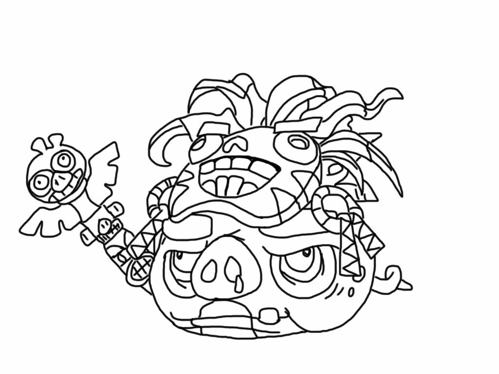 Angry Birds Epic Coloring Page Witch Doctor Pig My Free Coloring