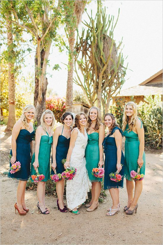 24e5158b5e4 Bridesmaids in blue and green and different shoe colors- all balances well  with their colorful bouquets