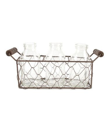 Look what I found on #zulily! Small Square Metal Basket & Glass Bottle Set #zulilyfinds