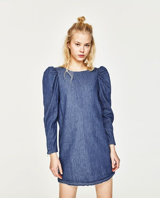 dfff43673e7 Image 4 of DENIM DRESS WITH PUFF SLEEVES from Zara