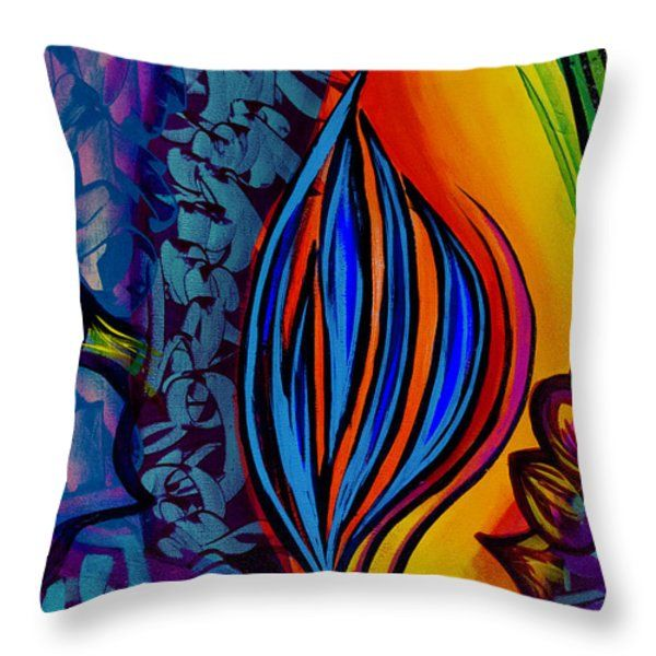 Throw Pillow featuring the painting Colors by Silvia Bruno