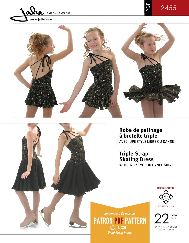 Jalie 2455 - Triple-Strap Skating Dress PDF Pattern | Ice skating ...