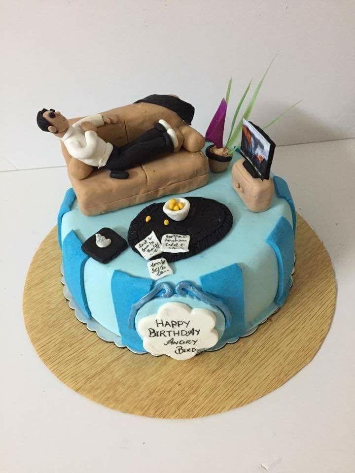 Man Relaxing Watching Tv On Sofa Theme Cake Birthday Cake For