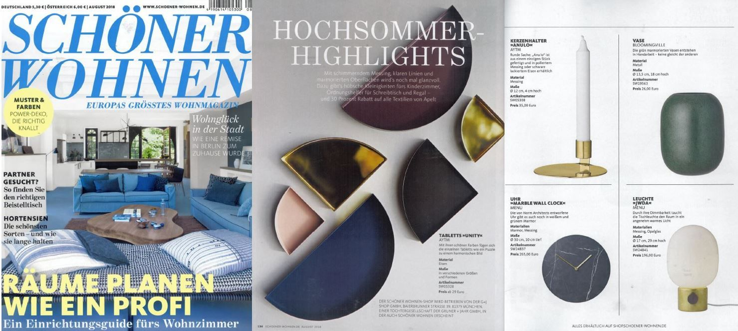 A Various Collection Of Aytm Unity Trays And A Aytm Anulo Candle Holder Featured In Schoner Wohnen August 2018