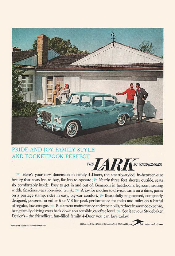 VINTAGE STUDEBAKER LARK Ad – 50's Car Poster, Retro Car Ad, Old Car Ad, Classic Car Lover, Car Mechanic, Poster for Garage, Mid Century Ad