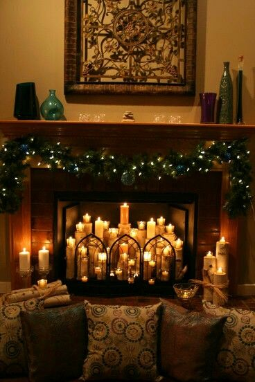 Candles in the fireplace | house and home | Candles in ...